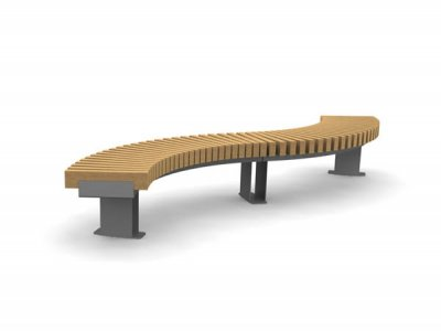 RailRoad Edge narrow bench assembly comprising curved Start & End modules in waveform.