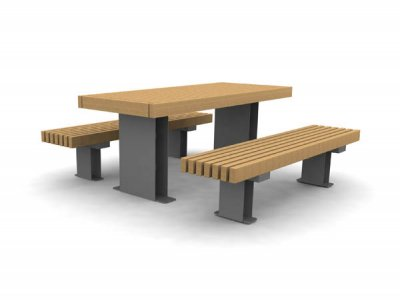 RailRoad Edge picnic table with RailRoad Inline narrow benches
