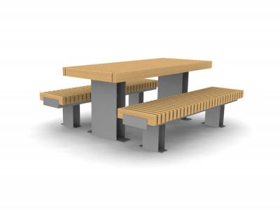 RailRoad Edge picnic table with RailRoad narrow benches