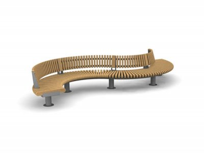 RailRoad Loop seat assembly comprising curved Start, Mid & End modules in waveform layout, with full length backrest.