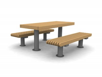 RailRoad Loop picnic table with RailRoad Inline narrow benches
