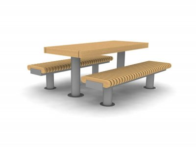 RailRoad Loop picnic table with RailRoad narrow benches