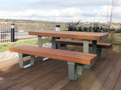 RailRoad Delta picnic table with RailRoad Inline narrow benches