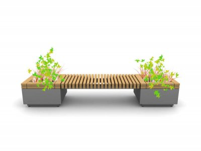 RailRoad straight seating module & planter at start / end.