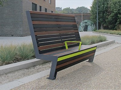 Seven SEVSH 6 high back bench with armrest, with modified softwood in 3 mixed coated colours