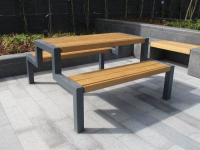 Thetford picnic bench & table, standard width x 1.5m long, large slats in oak timber, oiled finish (special version)