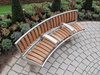 Zenith curved seat with external backrest and central armrests, stainless steel with iroko timber slats