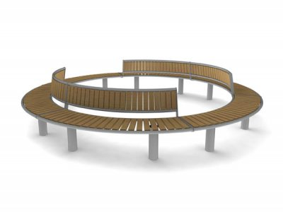 Horizon enclosed circle - 2 x bench units and 4 x seat units with backrests
