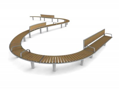 Horizon organic waveform - 7 x bench units and 3 x seat units with backrests