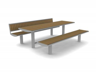 Horizon 8 person picnic table, bench and seating with front-to-back slats.