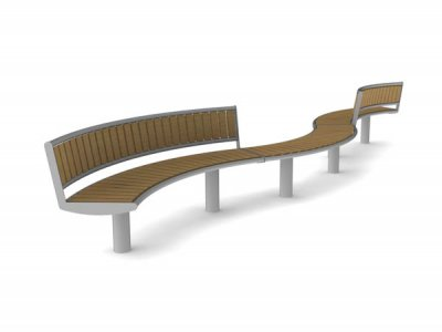 Horizon geometric wave form - 1 x bench unit and 2 x seat units with backrests