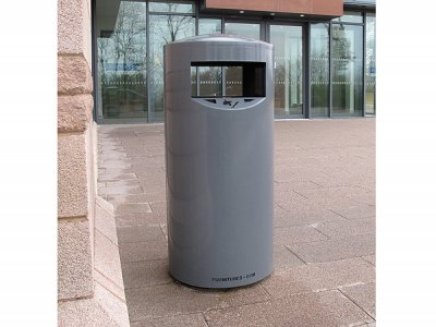 ZEN500 Zenith powder coated steel litter bin with cigarette stubber and ash waste liner