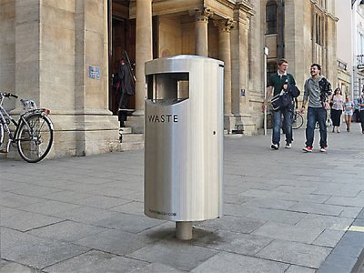 ZEN580 Zenith satin polished, stainless steel post mounted litter bin with cigarette stubber and ash waste liner