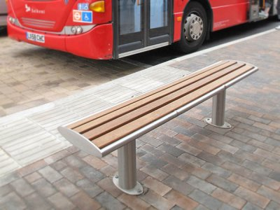 Zenith Satin Polished Stainless Steel & Timber Bench with Anti-Skate devices & Base Plates installed in Orpington High St
