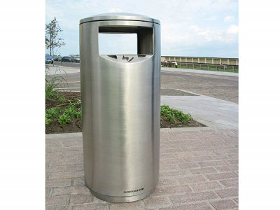 ZEN500 Zenith stainless steel, satin polished litter bin with cigarette stubber and ash waste liner