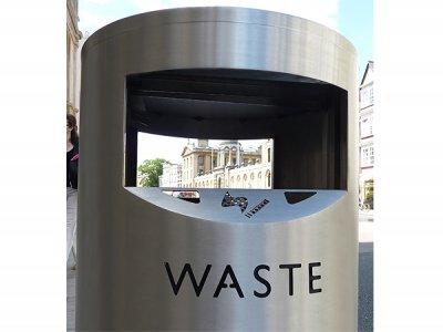 ZEN580 Zenith post mounted litter bin with laser cut lettering