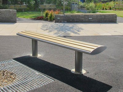 Zenith bench powder coated grey with wood plastic composite (WPC) slats
