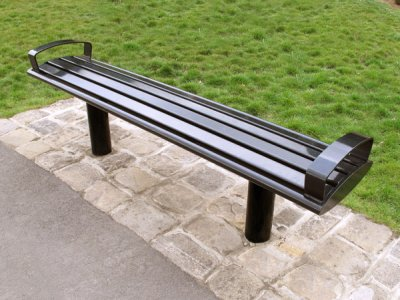 Zenith bench, all steel powder coated black with end arms