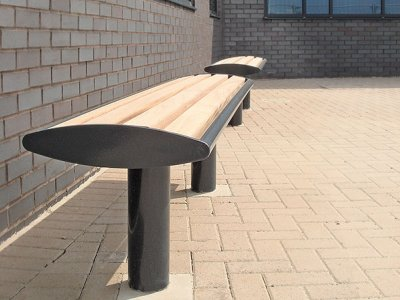 Zenith black powder coated bench, with iroko timber slats
