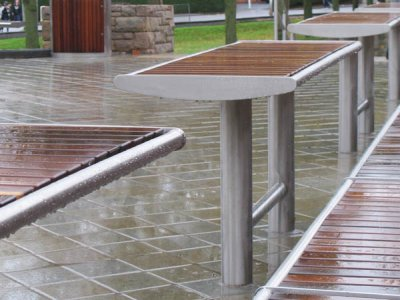 Zenith Horizon (special) picnic table with front-to-back slats in stainless steel with iroko timbers