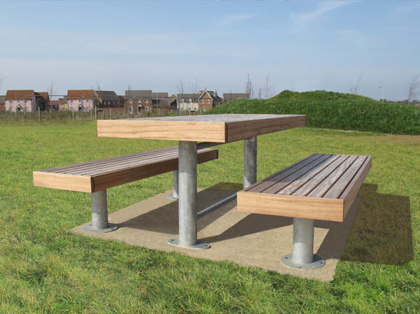 Elements picnic tables and picnic benches outdoor dining elements 1850mm long x 810mm standard picnic table with timber slats timber fascias and steel galvanised post supports shown with 2 benches watchthetrailerfo