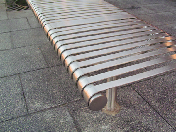Al B6 Alpine Bench In Stainless Steel Satin Polished Finish