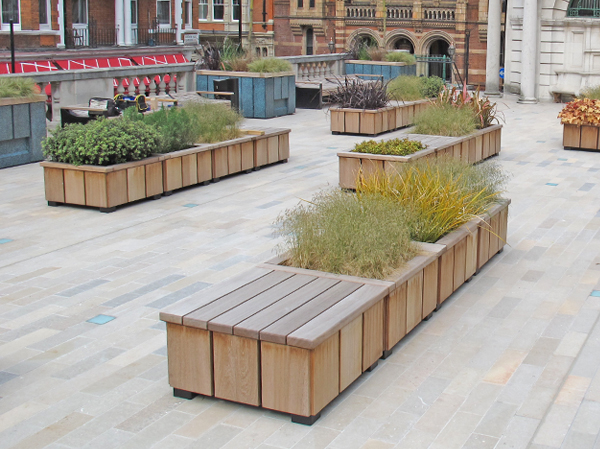 Seating benches special commissions for Landscape timber bench