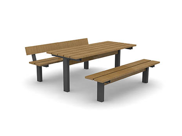Pt6 B Plymouth Picnic Table Shown With Pb6b 3 Person Bench And Pl6b Seat