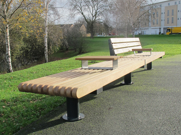 RailRoad Inline Loop Straight Wooden Seats Benches