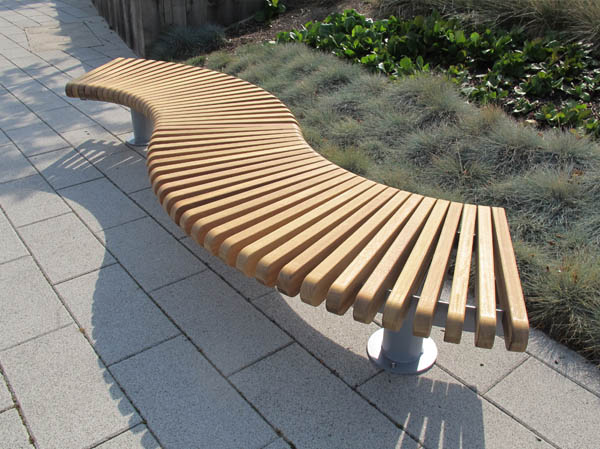 Railroad loop straight curved outdoor benches seats Curved bench seating