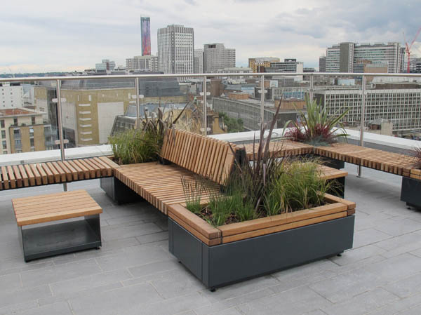 Railroad Planters With Bench Seating Timber Planters